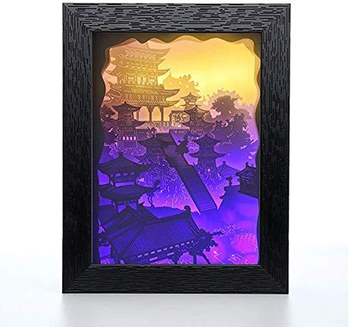 GEZHF 3D Shadow LED noche luz creativa Papercut caja de luz con control remoto USB alimentado para niños s amantes regalos