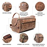 Kulturbeutel/Kulturtasche für Herren von moonster | Handgemachtes Necessaire aus echtem Leder | Robuste, kompakte und praktische Reise-Waschtasche mit Fächern u. großem Stauraum - 9