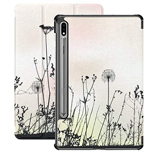 Estuche para Galaxy Tab S7 Estuche Delgado y liviano con Soporte para Tableta Samsung Galaxy Tab S7 de 11 Pulgadas Sm-t870 Sm-t875 Sm-t878 2020 Versión, Fondo Floral Diente de león Ilustración Vector