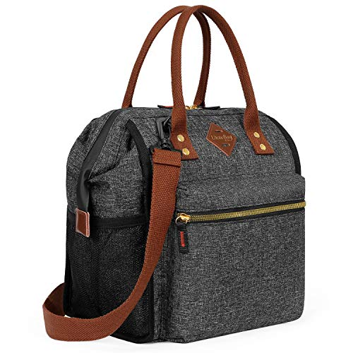 UTOTEBAG Insulated Lunch Bag Leak Proof Lunch Box Thermal Lunch Tote with Removable Shoulder Strap for Women Men Wide-open Snacks Organizer for Work College Outdoor, Black
