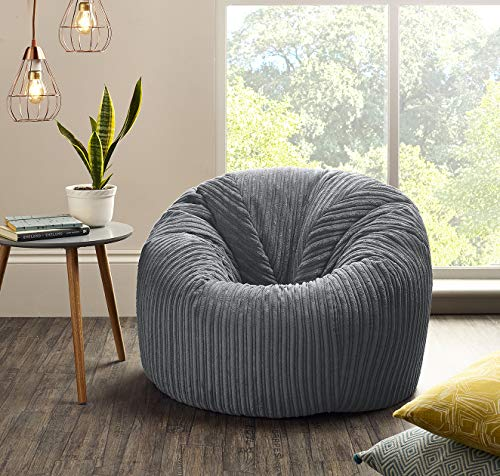 Jumbo Cord Beanbag Chair Grey, Extra Large Bean Bags in Plush grey Jumbo Cord, Great as Beanbag Lounger, Jumbo Cord Beanbags Recliner (GREY)
