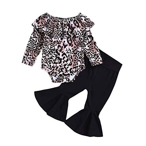 Tianhaik Kleine Baby Meisje Luipaard Print Outfits Lange Mouw Romper Jumpsuit+Zwarte Bell Bottoms Broek