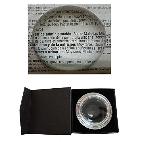 Lupa Pisapapeles de Cristal con Caja Protectora Lente de Media Bola