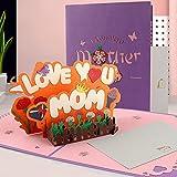 Biglietti Augurali Compleanno, Biglietto di Auguri Pop-Up 3D con Busta, Biglietto di Auguri per la Festa Della Mamma, Carta Regalo 3D per la Festa Del Papà, Squisita Carta Tagliata (LOVEMOM)