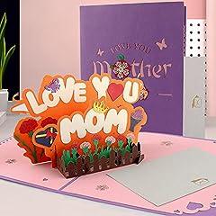 Idea Regalo - Biglietti Augurali Compleanno, Biglietto di Auguri Pop-Up 3D con Busta, Biglietto di Auguri per la Festa Della Mamma, Carta Regalo 3D per la Festa Del Papà, Squisita Carta Tagliata (LOVEMOM)