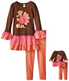 Dollie & Me Girls' Turkey Applique Legging Set