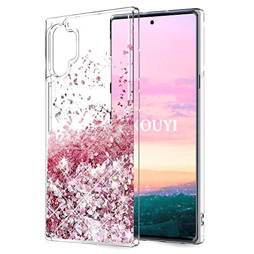 KOUYI Coque Samsung Galaxy Note 10 Plus,Flottant Liquide Étui Protecteur TPU Cover Brillant Bling Mode 3D Créatif Sparkly Transparente Cristal Coques Telephone (Or Rose)