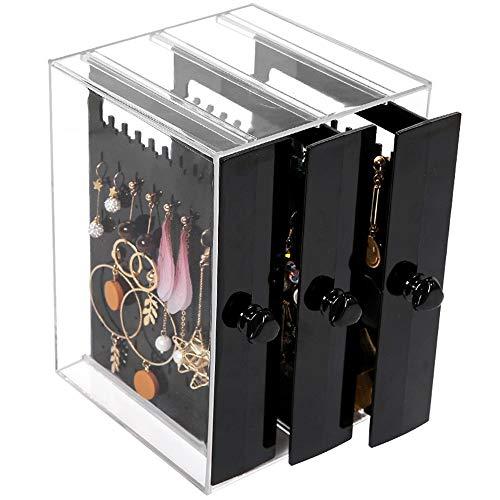 Escritorio Caja De Almacenamiento De La Joyería Estante Estante De Almacenamiento Pendientes Pendientes De Cajón Casos de visualización de Maquillaje cosmético (Color : Clear, Size : One Size)