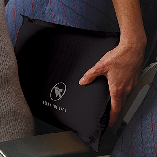 Self-Inflating Back Rest/Compressible Suitcase-Friendly Lumbar Support Pillow (Slate)