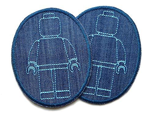 Set 2 Knieflicken Jeansflicken Legomännchen, 8 x 10 cm, Patch Kinder Hosenflicken zum aufbügeln