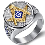 Jude Jewelers Stainless Steel Blue Gold Two Tone Masonic Master Mason Ring (Silver, 10)