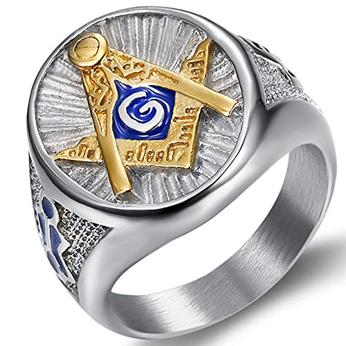 Jude Jewelers Stainless Steel Blue Gold Two Tone Masonic Master Mason Ring (Silver, 11)