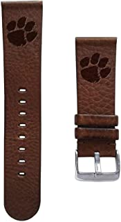 Affinity Bands Clemson University Tigers 22mm Premium Leather Watch Band - Compatible with Samsung, Garmin, Fossil Fitbit and More.
