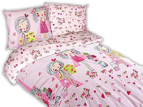 ModHaus - Biancheria da letto in cotone Exclusive SHE – Rosa – 140 x 200 cm + 1 x 70 x 80 cm