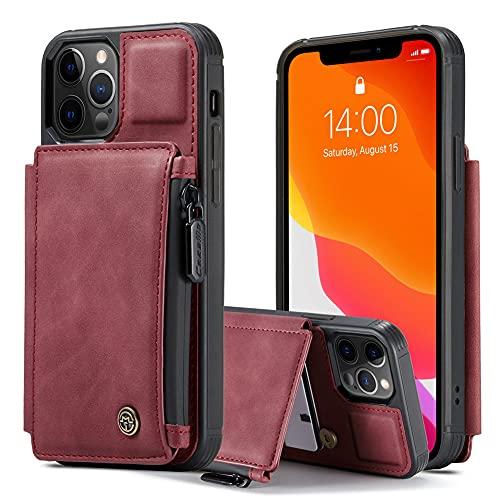 RZL fundas para teléfono celular para iPhone 13 Mini /13/13 Pro, funda de cuero con cierre y ranura para tarjetas, fundas para teléfono iPhone 13 Pro Max (color rojo, material: para iPhone 13Pro Max)