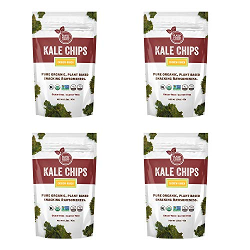 Raw Food Central Curt's Classics Snacks 100% Organic, Non-GMO, Gluten Free and Vegan – 4 Pack (Kale Chips)
