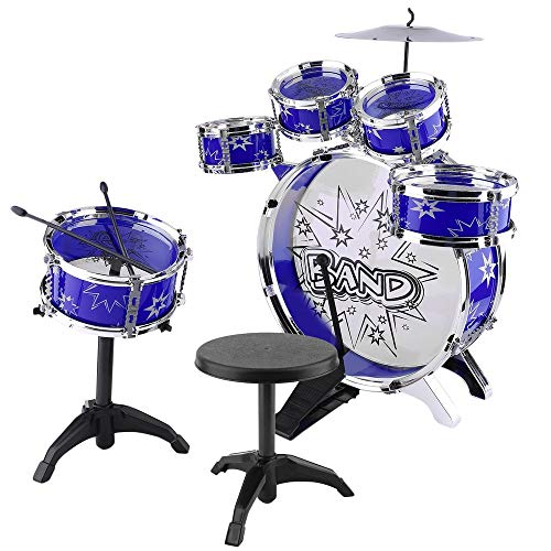 Civigrape Junior Jazz Drum Set for Kids – 5 Drums, 2 Drumsticks, Kick Pedal, Cymbal, Stool – Ideal for Kids, Boys and Girls – Stimulates Musical Talent Imagination and Creativity