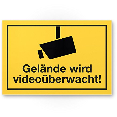 Gelände wird videoüberwacht Kunststoff Schild, Infozeichen (gelb, 30 x 20cm), Hinweisschild, Warnhinweis Videoüberwacht Einbruchschutz, Videoüberwachung - angelehnt an DIN 33450