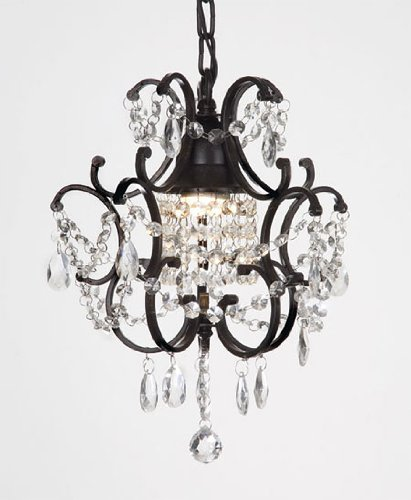 Wrought Iron Crystal Chandelier Lighting Country French, One Light, Ceiling Fixture