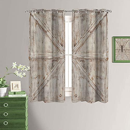 Cortinas de oscurecimiento para habitación, estilo vintage rural, para puerta de casa rural, con ojales, protege la privacidad de 55 x 63 cm