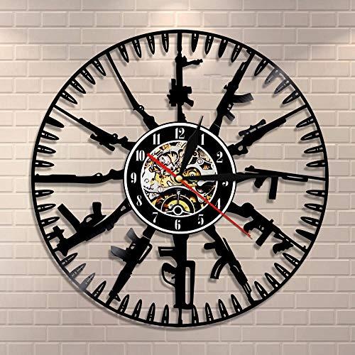 JXWH Bullet Time Orologio da Parete Pistola Munizioni Decorazione della casa Proprietario di Pistola Orologio da Parete in Vinile Orologio da Parete Regalo murale Militare a Soldati ed Esercito