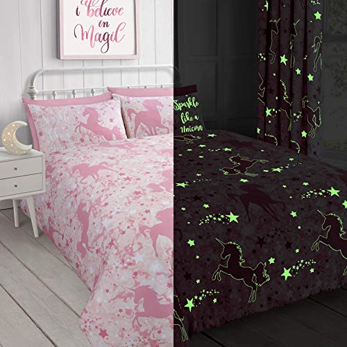 Velosso Unicorn Stars Magical Glow in the Dark Duvet Cover Bedding Set (Pink, Single)