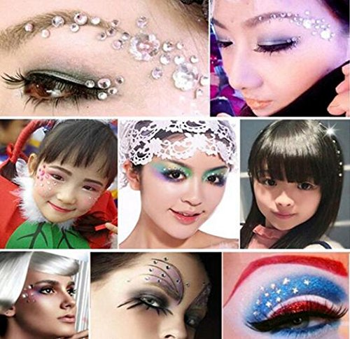 erioctry 1 Sheet Self-Adhesive Rhinestone Sticker Gem Rhinestone Embellishment Stickers Sheet Fits for Crafts Face Body Eyes Nails Makeup Festival Carnival 5mm/8mm/10mm/12mm 4 Sizes (Silver)