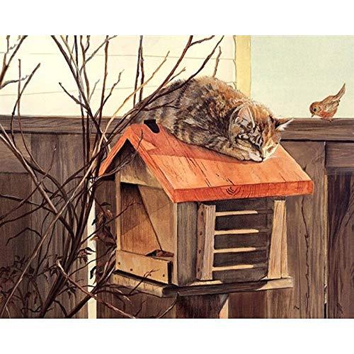 Thfff kat in de brievenbus, handgemaakt, hoogwaardig, mooie schilderijen met cijfers als verrassing, grote realisatie Senza Telaio 40x50cm