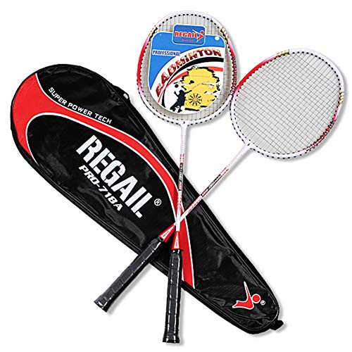 Raqueta de Bádminton Set, Badminton Racket de Fibra Carbono for Principiantes, 1 Bolsa de Transporte incluidos,Rojo
