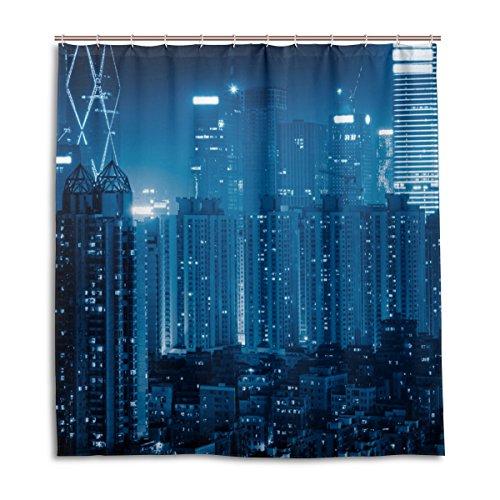 jstel Decor Duschvorhang mit Skyline 3D Abstraktes Muster Print 100prozent Polyester Stoff 167,6x 182,9cm für Home Badezimmer Deko Dusche Bad Gardinen mit Kunststoff Haken
