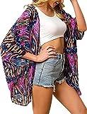 Camisola de Playa para Mujer Cardigan Corto Manga Media Pareos Cubrir Bikini Kimono Estampados de Flor Bikini Cover Up Protector Solar Traje de Baño de Playa para Chica (Flor 5, XL)
