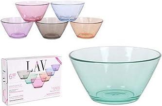 Lav 52423 Cake Bowl, 12 cm, 345 Cc, Assorted Colours, Glass