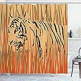 ABAKUHAUS Duschvorhang, Tiger in Den Büschen Tarnung Fleischfresser Raubtier Feine Afrika Safari Muster Kunst Druck, Blickdicht aus Stoff inkl. 12 Ringen Umweltfre&lich Waschbar, 175 X 200 cm