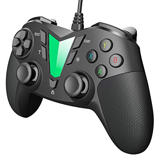 IFYOO V911 Wired PC Controller USB Gaming Gamepad Joystick für Windows 10/8/7/XP(Computer & Laptop), Steam, Android und PS3, 3M USB Kabel, Dual-Vibration, XInput/DInput - Schwarz