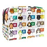 Bolsa de maquillaje portátil con cremallera, bolsa de aseo de viaje para mujeres, práctica bolsa de almacenamiento cosmético del alfabeto inglés diferentes animales