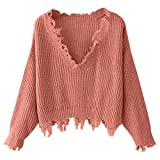 ZAFUL Women's Solid V Neck Loose Sweater Long Sleeve Ripped Jumper Pullover Knitted Crop Top (Orange Pink)