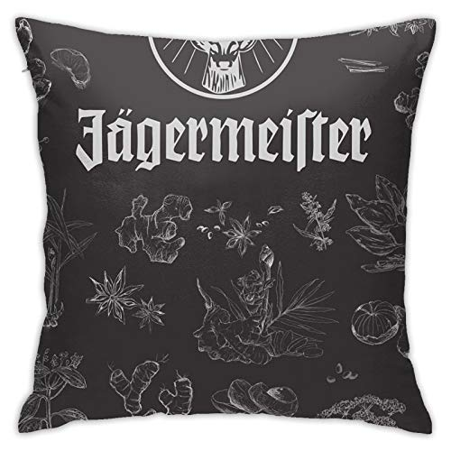 Jagermeister Cute Throw Pillow Covers Square Plush Pillowcases Decorative Printing Soft for Living Room Sofa Child Bed Home Decor Pillowslip 18 X 18 Inch(45 X 45 cm)