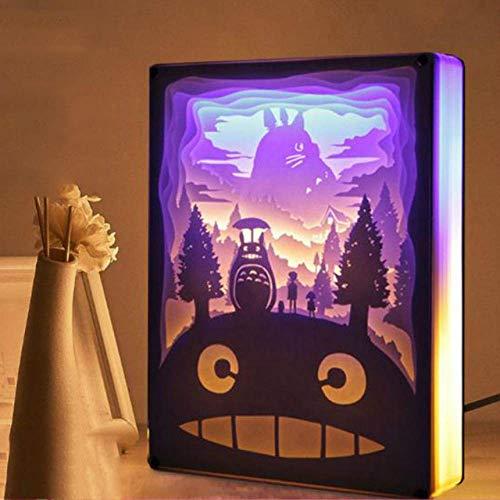 Nachtlicht Totoro Papierschnitt Atmosphäre Lampe 3D-Papier Schnitzen Kunst Dekoration Lampe USB Power für Wohnzimmer Schlafzimmer/Stil 8