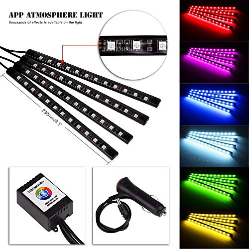 Auto LED Innenbeleuchtung, Queta LED Atmosphäre Licht 12 LED-Leuchten APP Steuerbare Mehrfarbig Musik RGB Auto Innenbeleuchtung