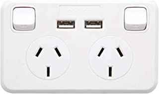 Dual GPO Mains Power Point with 2 X USB Charging Outlets Sockets 240V