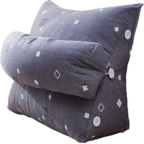 KAISUN Almohada de Cuña Almohada Triangular,Soporte para la Espalda Almohada Cojín Flexible Almohada de Lectura Ajustable Sofá Cama Cojín de Descanso (1,60 x 22 x 50cm)