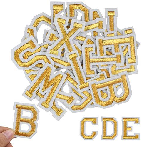 Jinlaili 52 Stück Aufnäher Buchstaben, Gold Buchstaben Patches von A bis Z, Alphabet Applikationen Patches, Buchstaben zum Aufnähen oder Aufbügeln, für Schuhe, Hut, Tasche, Bekleidungszubehör
