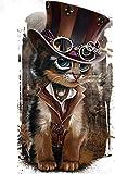 AItmp DIY 5D Diamante Pintura Vaquero Gato Mosaico Imagen Bordado Animales Regalos para niños 40X50Cm