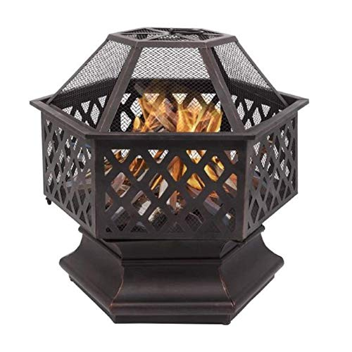 Taghua Metal Fire Pit, Heavy Duty Fire Pits Outdoor Bonfire Wood Burning BBQ Grill Firepit Bowl for Garden, Backyard, Poolside, Flame-Retardant Mesh Lid