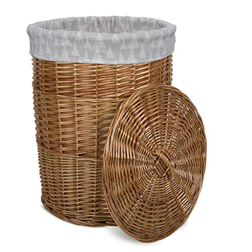 Greenleaves Natural Finish Round Laundry Wicker Basket Cotton Liner With Lid Bathroom Storage (Medium)