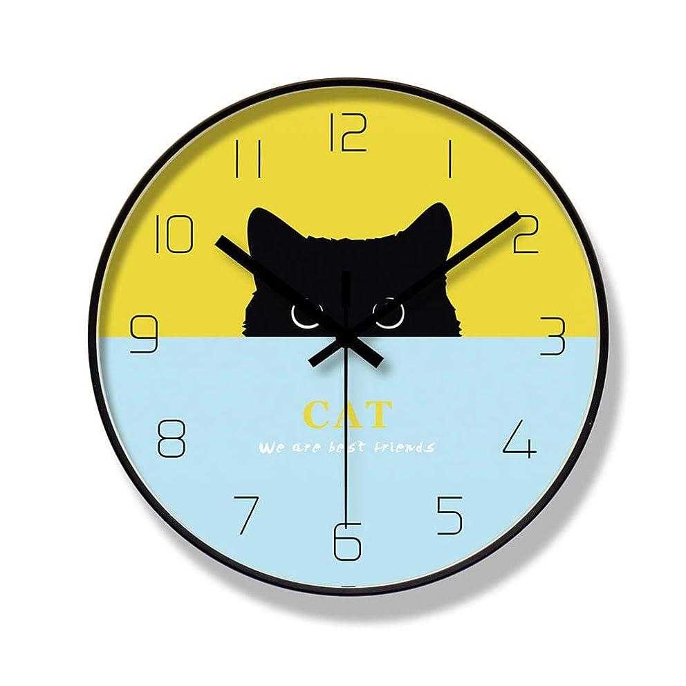ライブあご販売計画クリエイティブウォールクロックモダンデザインサイレントクロック黒漫画猫ファッションメタルウォールクロックルームキッチン