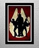 Millenium Falcon - Han Solo, Luke Skywalker, Chewbacca the Wookie - Star Wars - George Lucas - 13x19 Original Minimalist Art Poster Print