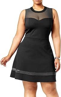 Monteau Los Angeles   Plus Size Mesh Sweetheart Neckline Dress   Black