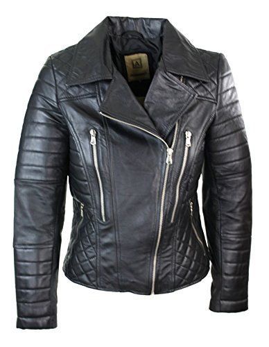 Damenjacke 100% Echtleder Schwarz Biker Stil Rock Design Eng Tailliert