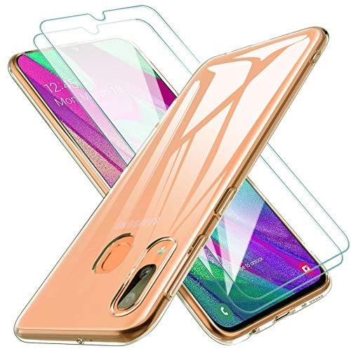 KEEPXYZ Coque Samsung Galaxy A40, avec Verre Trempé Protection d'écran, Antichoc Transparent Silicone TPU Bumper étui Souple Case + 2 Pcs Protecteur écran pour Samsung Galaxy A40